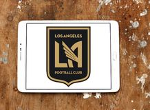 Los Angeles FC Soccer Club logo. Logo of Los Angeles FC Soccer Club on samsung tablet. Los Angeles Football Club is an American professional soccer franchise Stock Image