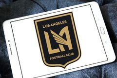 Los Angeles FC Soccer Club logo. Logo of Los Angeles FC Soccer Club on samsung tablet. Los Angeles Football Club is an American professional soccer franchise Royalty Free Stock Photos