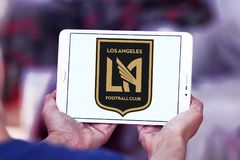 Los Angeles FC Soccer Club logo. Logo of Los Angeles FC Soccer Club on samsung tablet. Los Angeles Football Club is an American professional soccer franchise Royalty Free Stock Photo