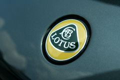 Logo of a Lotus car. TAGUIG CITY, PHILIPPINES - JUNE 27, 2015: Logo of a Lotus car displayed in a car show in Bonifacio Global City Royalty Free Stock Photo