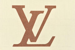 Logo louis vuitton cardboard Stock Photography