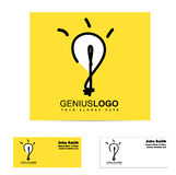 Logo lumineux d'ampoule d'idée de génie Images libres de droits