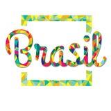 Logo lumineux de couleur dans le style du bas poly Brésil Image stock