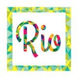 Logo lumineux de couleur dans le style du bas poly Brésil Photographie stock libre de droits