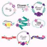 Logo luminoso per il negozio di fiore illustrazione di stock