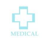 Logo médical bleu de croix de pharmacie Image stock