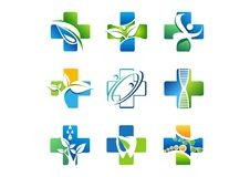 Logo médical de pharmacie, icônes de médecine de santé, conception naturelle de vecteur d'herbe de symbole illustration stock