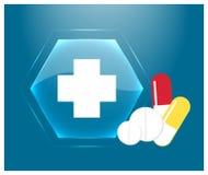 Logo médical ou emblème de la pharmacie Bouton en verre bleu avec c Images stock