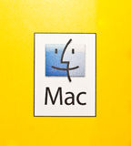 Logo of Mac PCs and Mac Operating System. Logo of Mac PCs and softwares on a yellow background Stock Photos