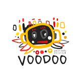 Logo magique africain et américain de vaudou avec la tête abstraite illustration stock