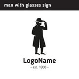 Logo  man in a hat and glasses Royalty Free Stock Photography