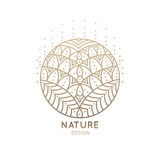 Logo mandala. Vector logo of floral element. Abstract flower mandala.Linear emblem for design of natural products, flower shop, cosmetics and ecology concepts Stock Images