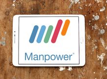 Manpower company logo. Logo of Manpower on samsung tablet. ManpowerGroup is the third-largest staffing firm in the world Royalty Free Stock Photography