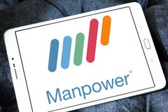 Manpower company logo. Logo of Manpower on samsung tablet. ManpowerGroup is the third-largest staffing firm in the world Royalty Free Stock Image
