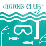 Logo marine diving club. Vector illustration Stock Photos