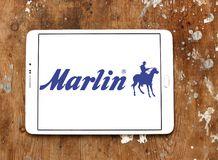 Marlin Firearms logo. Logo of Marlin Firearms on samsung tablet. Marlin Firearms is a manufacturer of semi automatic, lever action, and bolt action rifles Royalty Free Stock Image