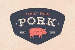 Logo masarka mięsny sklep Zdjęcie Royalty Free