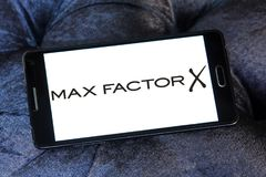 Max Factor cosmetics company logo. Logo of Max Factor cosmetics company on samsung mobile. Max Factor is a line of cosmetics from Coty Stock Photo