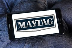 Maytag Corporation logo. Logo of Maytag Corporation on samsung mobile. The Maytag Corporation is an American home and commercial appliance brand Stock Photography