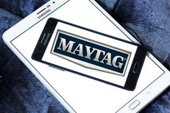 Maytag Corporation logo. Logo of Maytag Corporation on samsung mobile. The Maytag Corporation is an American home and commercial appliance brand Stock Images