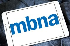 MBNA Corporation logo. Logo of MBNA Corporation on samsung tablet. MBNA Corporation is a bank holding company and parent company of wholly owned subsidiary MBNA Royalty Free Stock Photo
