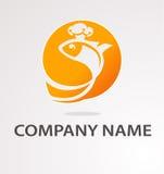 Logo med den guld- fisken Royaltyfria Bilder