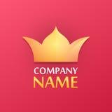 Logo med den guld- kronan Royaltyfri Bild