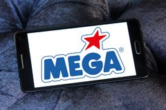 Mega Brands toy manufacturer logo. Logo of Mega Brands toy manufacturer on samsung mobile. Mega Brands is a Canadian children`s toy company currently owned by royalty free stock photo