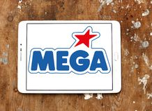 Mega Brands toy manufacturer logo. Logo of Mega Brands toy manufacturer on samsung tablet. Mega Brands is a Canadian children`s toy company currently owned by royalty free stock photos