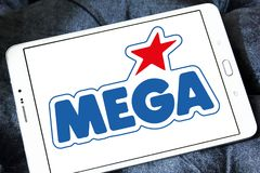 Mega Brands toy manufacturer logo. Logo of Mega Brands toy manufacturer on samsung tablet. Mega Brands is a Canadian children`s toy company currently owned by stock images