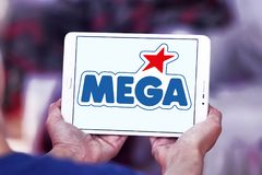 Mega Brands toy manufacturer logo. Logo of Mega Brands toy manufacturer on samsung tablet. Mega Brands is a Canadian children`s toy company currently owned by stock photo