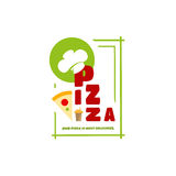 Logo menu pizza for your individual style cafe Stock Photography