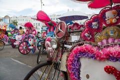 Logo Mercedes-Benz on the trishaw Royalty Free Stock Photos