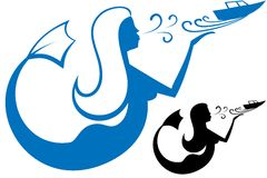 Logo Mermaid. Mermaid embarks on a journey boat. Can be used as logo. Isolating the illustration stock illustration