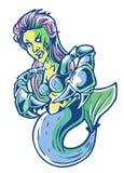 Logo mermaid monster logotype color royalty free illustration