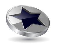 Logo metallic star. Logo, 3d black and metallic star, vector Stock Photos