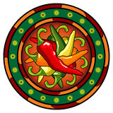 Logo mexicain de /poivron chaud Image stock