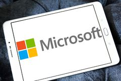 Microsoft logo. Logo of microsoft company on samsung tablet . Microsoft Corporation is an American multinational technology company. It develops, manufactures royalty free stock photos