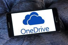 OneDrive logo. Logo of microsoft onedrive on samsung mobile. it is a file-hosting service operated by Microsoft as part of its suite of online services. It Stock Images