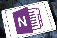 Microsoft office OneNote logo. Logo of Microsoft OneNote on samsung tablet. Microsoft OneNote is a computer program for free form information gathering and multi Stock Images