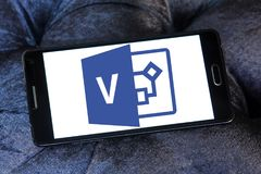 Microsoft Visio logo. Logo of Microsoft Visio on samsung mobile. Microsoft Office Visio is a diagramming and vector graphics application and is part of the stock photo