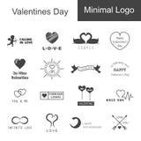 Logo minimo di giorno di biglietti di S. Valentino Immagine Stock