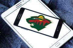 Minnesota Wild ice hockey team logo. Logo of Minnesota Wild ice hockey team on samsung mobile. The Minnesota Wild are a professional ice hockey team stock photos