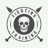 Logo misto d'annata, distintivo o emblema di arti marziali illustrazione di stock