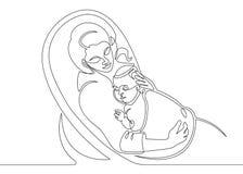 Logo mit der Mutter, die ihr Baby hält Ununterbrochenes Federzeichnungsvektorillustration Schlafen auf Kissen - Federzeichnung de stock abbildung