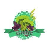 Logo mit einem Bild des Brokkolis und des Wörter ` Bioprodukte ` Lizenzfreie Stockbilder