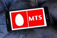 Mobile TeleSystems , MTS, logo. Logo of Mobile TeleSystems , MTS, on samsung mobile. MTS is the largest mobile operator in Russia and CIS with over 102.4 million royalty free stock photo