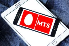 Mobile TeleSystems , MTS, logo. Logo of Mobile TeleSystems , MTS, on samsung mobile. MTS is the largest mobile operator in Russia and CIS with over 102.4 million royalty free stock photos