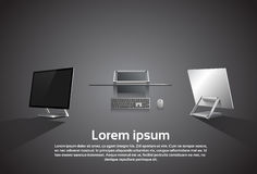 Logo Modern Computer Workstation Icon da tavolino Fotografia Stock