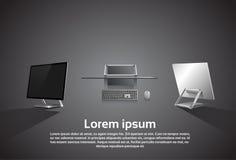Logo Modern Computer Workstation Icon de escritorio Fotografía de archivo